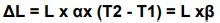ΔL = L x αx (T2-T1)=L x β